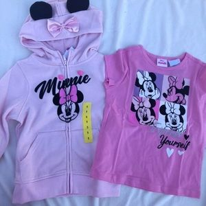 Minnie Mouse Zip up hoodie and T-shirt